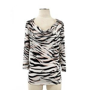 Calvin Klein- Back & Pink Multi Zebra Zip Top S